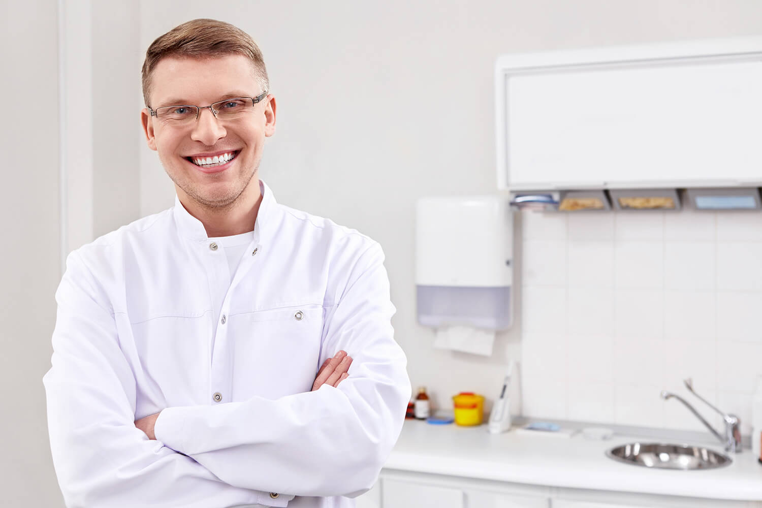 Young man standing in pharmacy